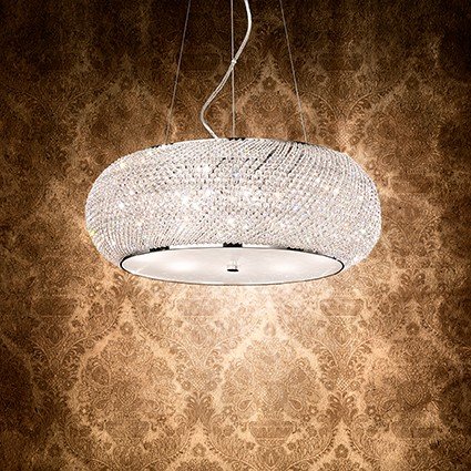 Ideal lux lampada a sospensione pasha sp10 cromo for Lampadari da tinello