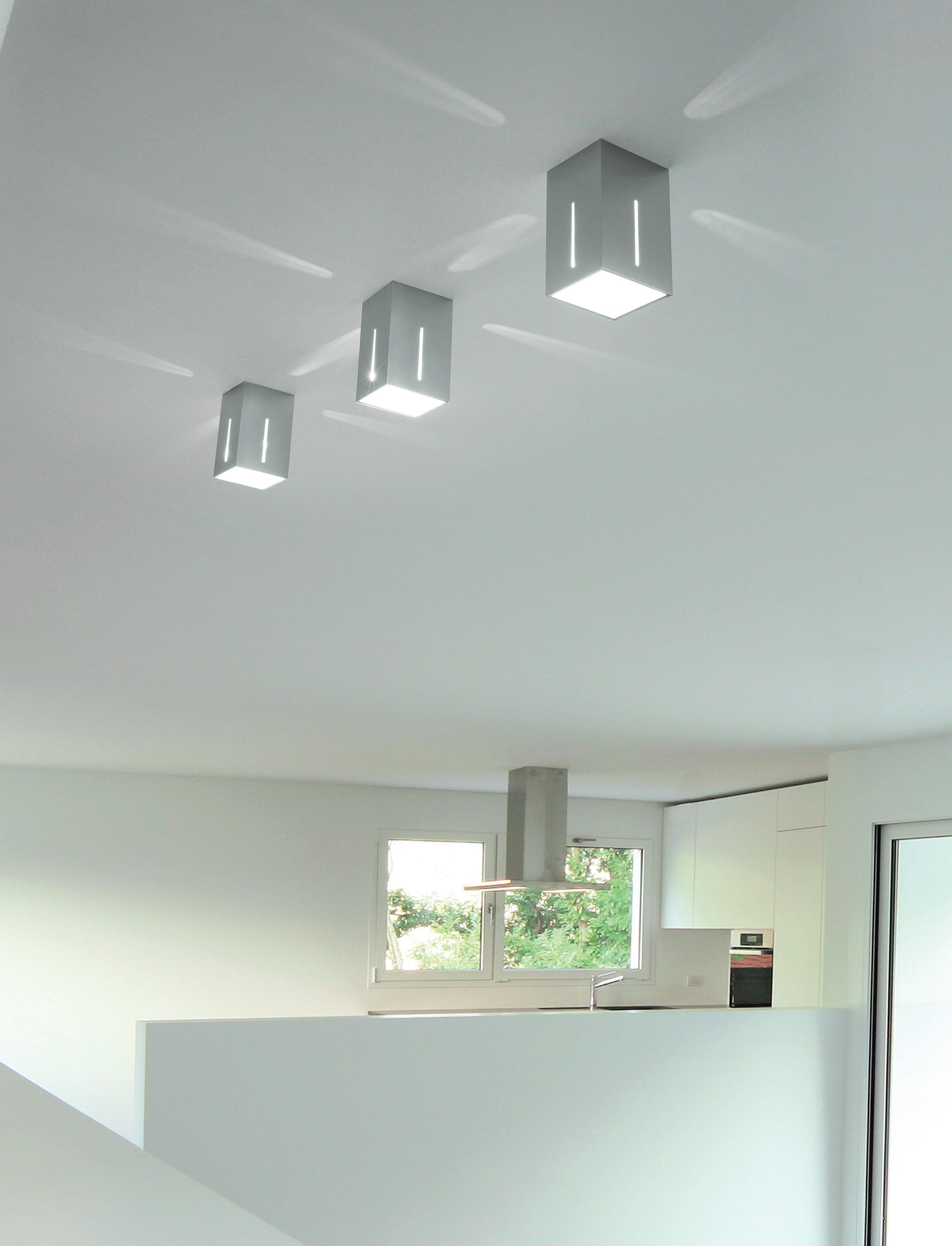 Sikrea lampada da soffitto ikaro g alluminio spazzolato for Lampadario da soffitto