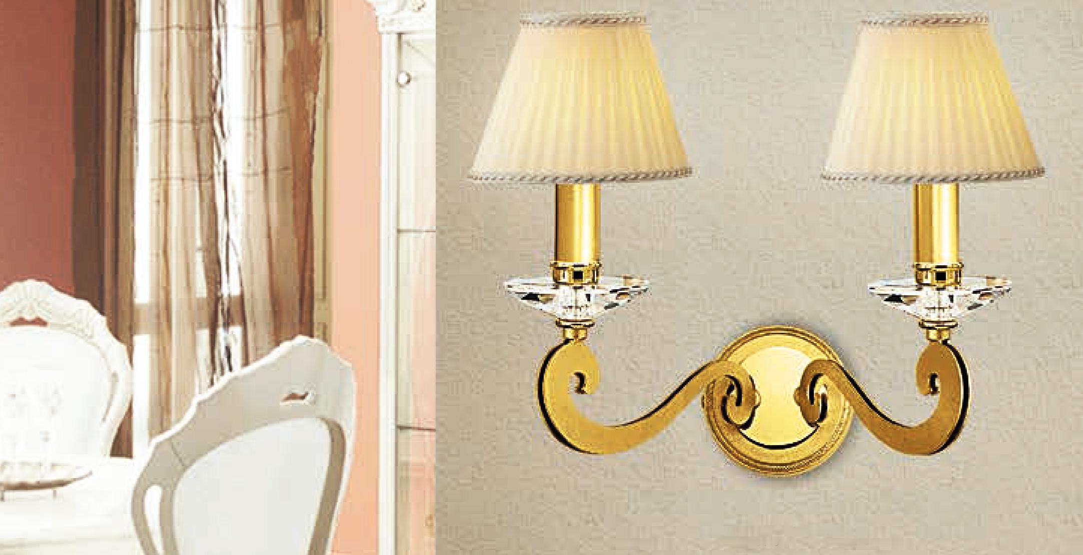 Lam via dese lampada da parete a foglia oro