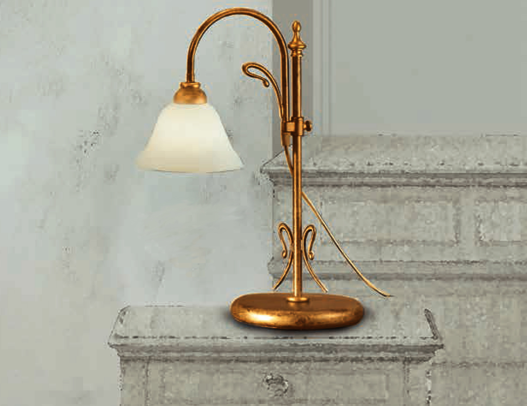 LAM-VIA DESE-Lampada da tavolo 2383/1LT-Ottone fiammato